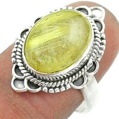 925 silver 5.53cts solitaire golden tourmaline rutile oval ring size 8 t55973