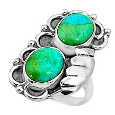 925 silver 6.16cts solitaire green arizona mohave turquoise ring size 6 t6428