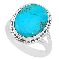 925 silver 9.98cts solitaire green arizona mohave turquoise ring size 8 t1578
