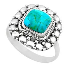 925 silver 4.07cts solitaire green arizona mohave turquoise ring size 8.5 t20070