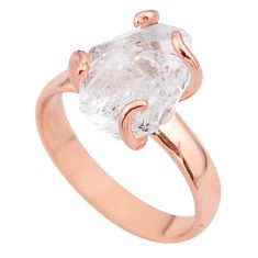 925 silver 5.23cts solitaire herkimer diamond 14k rose gold ring size 7 t49311