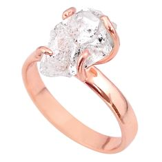 925 silver 5.06cts solitaire herkimer diamond 14k rose gold ring size 8 t49304