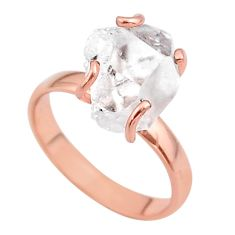925 silver 5.23cts solitaire herkimer diamond 14k rose gold ring size 8 t49319