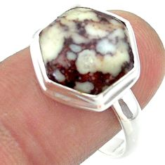 925 silver 7.04cts solitaire hexagon wild horse magnesite ring size 9 t55236