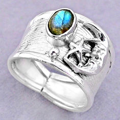 925 silver 1.47cts solitaire labradorite crescent moon star ring size 7 t32454