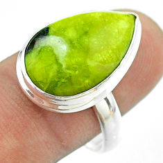 925 silver 12.96cts solitaire lizardite (meditation stone) ring size 9 t54136