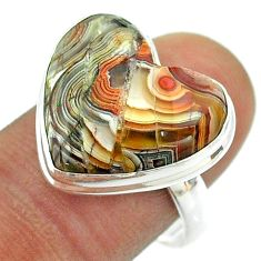 925 silver 14.14cts solitaire mexican laguna lace agate heart ring size 9 t54160