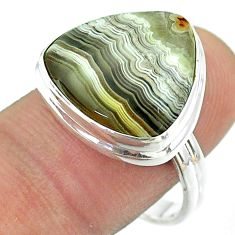 925 silver 14.35cts solitaire mexican laguna lace agate ring size 9 t54157
