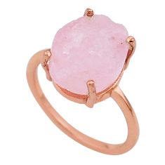 Handmade 4.88cts solitaire morganite raw 14k rose gold ring size 6 t33236