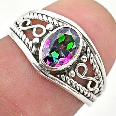 925 silver 1.58cts solitaire multi color rainbow topaz oval ring size 6 t40160