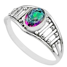 925 silver 1.58cts solitaire multi color rainbow topaz oval ring size 6 t51932