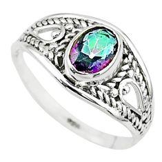 1.58cts multi color rainbow topaz oval graduation handmade ring size 6 t9639