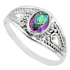 1.58cts multi color rainbow topaz oval graduation handmade ring size 6 t9656