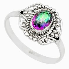 925 silver 1.46cts solitaire multi color rainbow topaz oval ring size 8 r87358