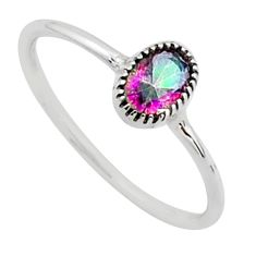 925 silver 0.88cts solitaire multi color rainbow topaz oval ring size 8 t40997