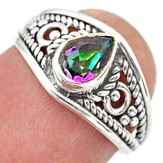 925 silver 1.36cts solitaire multi color rainbow topaz pear ring size 6 t40050