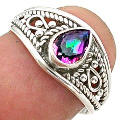 925 silver 1.57cts solitaire multi color rainbow topaz pear ring size 7 t40100