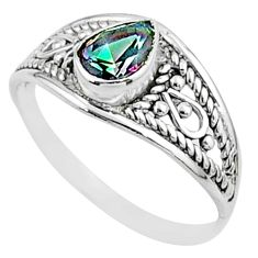 925 silver 1.72cts solitaire multi color rainbow topaz pear ring size 8 t51937