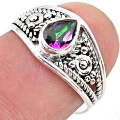 925 silver 1.49cts solitaire multi color rainbow topaz pear ring size 9 t39972