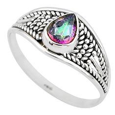 1.57cts multi color rainbow topaz pear graduation handmade ring size 9 t9567