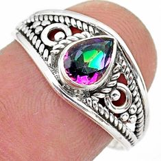 925 silver 1.58cts solitaire multi color rainbow topaz pear ring size 7.5 t40078