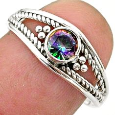925 silver 0.83cts solitaire multi color rainbow topaz ring size 8.5 t40178