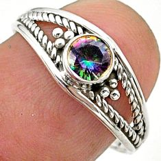 925 silver 0.80cts solitaire multi color rainbow topaz ring size 7.5 t40180