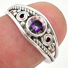 925 silver 0.81cts solitaire multi color rainbow topaz round ring size 7 t40108