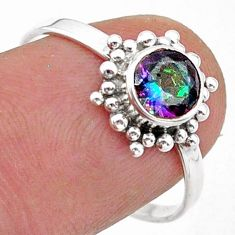 925 silver 1.25cts solitaire multi color rainbow topaz round ring size 8 t40043