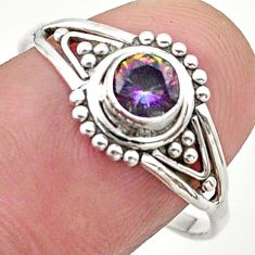 925 silver 0.82cts solitaire multi color rainbow topaz round ring size 9 t40140