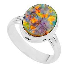 925 silver 3.03cts solitaire multi color sterling opal oval ring size 7 t13548