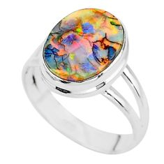 925 silver 3.12cts solitaire multi color sterling opal oval ring size 7 t13584