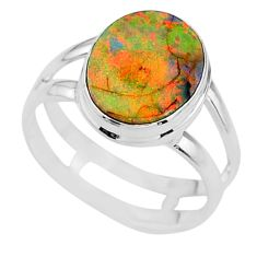 925 silver 3.51cts solitaire multi color sterling opal oval ring size 8 t13544