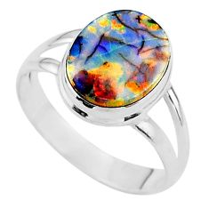 925 silver 3.64cts solitaire multi color sterling opal oval ring size 9 t13558