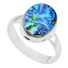 925 silver 3.51cts solitaire multi color sterling opal oval ring size 7.5 t13588