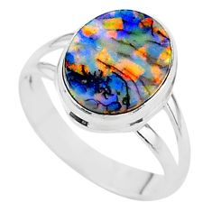 925 silver 3.51cts solitaire multi color sterling opal ring size 7.5 t13597