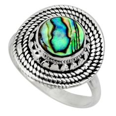 925 silver 3.03cts solitaire natural abalone paua seashell ring size 7.5 r49513