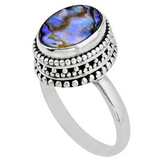 925 silver 3.75cts solitaire natural abalone paua seashell ring size 7.5 r51444