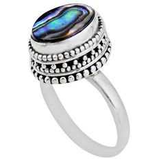 925 silver 3.75cts solitaire natural abalone paua seashell ring size 7.5 r51448