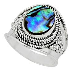925 silver 4.25cts solitaire natural abalone paua seashell ring size 6.5 r51988