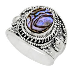 925 silver 4.82cts solitaire natural abalone paua seashell ring size 8.5 r51993