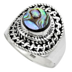 925 silver 2.95cts solitaire natural abalone paua seashell ring size 7 r49515