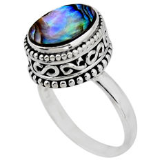 925 silver 3.70cts solitaire natural abalone paua seashell ring size 7 r51458