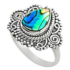 925 silver 2.72cts solitaire natural abalone paua seashell ring size 7 t20211
