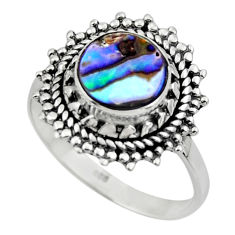 925 silver 3.08cts solitaire natural abalone paua seashell ring size 8 r49507
