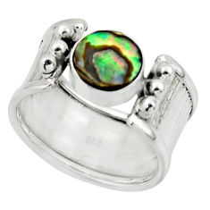 925 silver 2.63cts solitaire natural abalone paua seashell ring size 8 r49889
