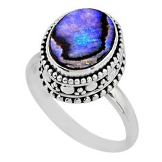 925 silver 3.89cts solitaire natural abalone paua seashell ring size 8 r51464