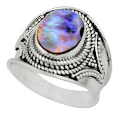 925 silver 4.21cts solitaire natural abalone paua seashell ring size 8 r51984