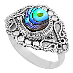 925 silver 2.35cts solitaire natural abalone paua seashell ring size 8 t20228