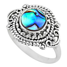 925 silver 2.55cts solitaire natural abalone paua seashell ring size 7.5 t20115